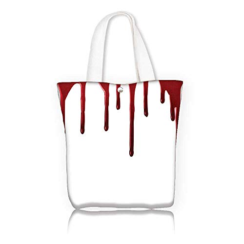 Canvas Beach Bags —W22 x H15.7 x D7 INCH/Shopping Travel Tote Bag Flowing Blood Horror Spooky Halloween Zombie Crime Scary Help me Themed Illustration Red White.