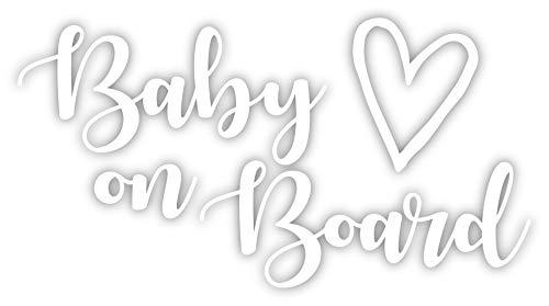 Cute Baby On Board Vinyl Decal Sticker 6x3 (White)
