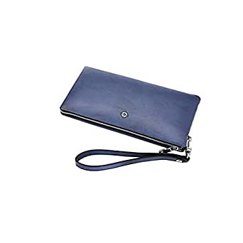 ACSH Men's Classic Wallet, Real Leather Zip Around Wallet ,Clutch, Large Travel Purse Wristle (Color : Blue, Size : 9 * 4.7 inches)