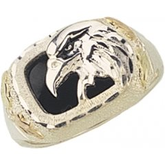 Silver Onyx Eagle Man Ring - Gorgeous! Black Hills Sterling-silver Men's Eagle Ring W/Black Onyx