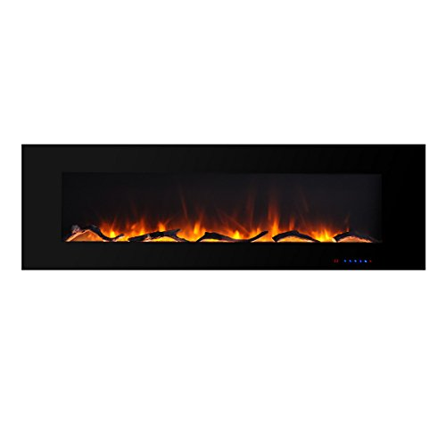 (Valuxhome 750W/1500W, Wall Mounted Flat Panel Smokeless Electric Fireplace with Remote Control, 60
