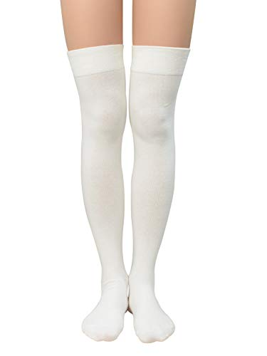Durio Womens Thigh High Socks Thigh Highs Solid Halloween Cosplay Socks for Women Over the Knee Sock Non Slip Stockings C 1 Pack White One Size ()