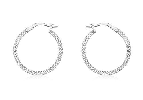 Or blanc 9carats 20mm Cobra texturé Boucles d'oreilles créoles