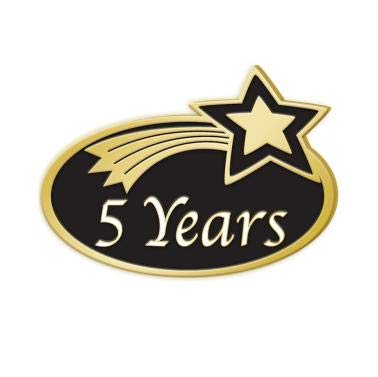 (Crown Awards 5 Years Achievement Pins - Years of Service Employee Pins 5 Pack Prime )
