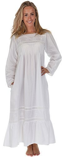 The 1 for U 100% Cotton Victorian Style Nightdress with Pockets - Violet- XS - XXXL