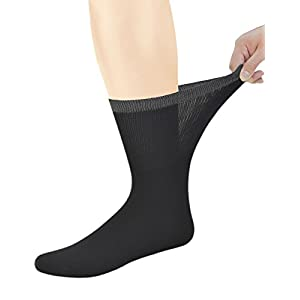Yomandamor Best Mens Bamboo Mid-Calf Diabetic Socks With Seamless Toe,6 Pairs L Size(Socks Size:10-13)