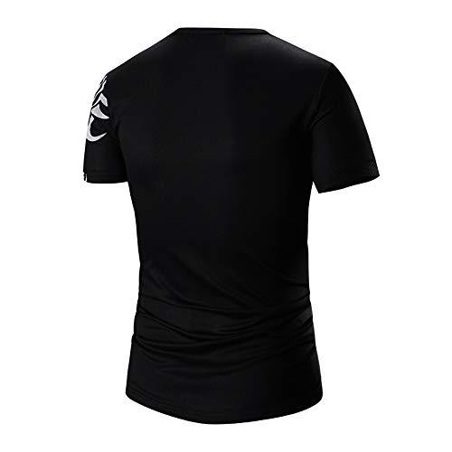 PASATO Men Summer Round Neck Tee Printing Men's Short-Sleeved T-Shirt Top Blouse(Black-1,L=US:M) by PASATO Blouse For Men (Image #1)