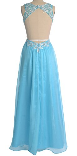 MACloth Women V Neck Lace Chiffon Long Prom Dresses Formal Party Evening Gown (36, Menta)