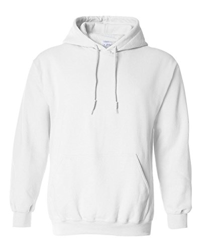 Hooded Plain Colored Hooded Sweatshirt Men Women Pullover Hoodie Fleece Cotton Blank (Medium, White) (Plain White Sweatshirt)