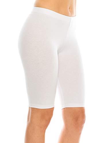 C&C Style Women's Stretch Jersey Bike Yoga Running Workout Bermuda Shorts Tights Pants Under Short Leggings S to 3XL Plus (2XL, White)