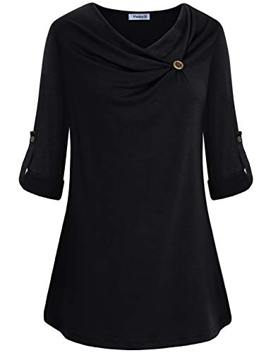 Vindery Loose Fitting Tops for Women Black,Ladies Roll Up Long Sleeve V Neck Cowl Trendy Shirt Basic 2X Tunics Sweatshirts Lightweight Pullover Knit Top Plus Size Blouses