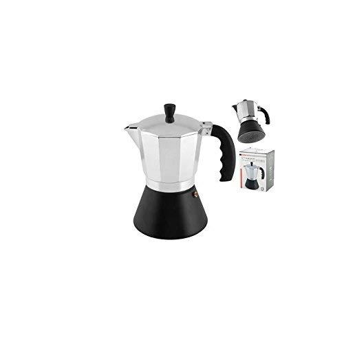 HOME Cafetera de 9 Tazas, Fondo inducción, Aluminio, Plata/Negro ...
