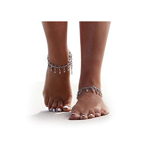 ZEALMER 2pcs Pack Boho Vintage Beads Tassel Anklet Retro Style Beads Flower Ankle Foot Chain Jewelry (Retro Flower Chain Anklet)