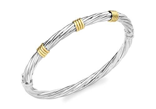 9ct or 2couleurs Twist détail Bracelet