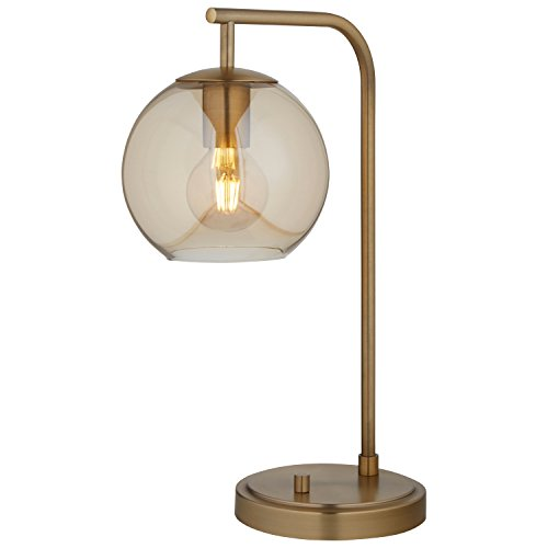 Rivet Hudson Mid-Century Brass, With Bulb, Tinted Glass Globe, 14