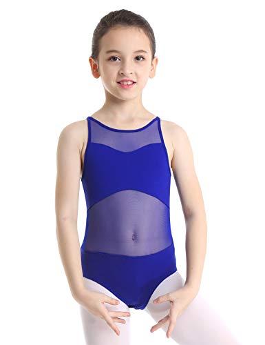 iiniim Girls Strappy/Mesh Back Team Basic Gymnastics Ballet Dance Camisole Leotard Athletic Sports Tank Tops Mesh Splice Royal Blue 8-10