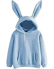 Schattige Bunny hoodie met oren voor vrouwen, tieners, meisjes, casual, solide, lange mouwen, sweatshirt, Kawaii, hoodie, blouse, tops, hoodies