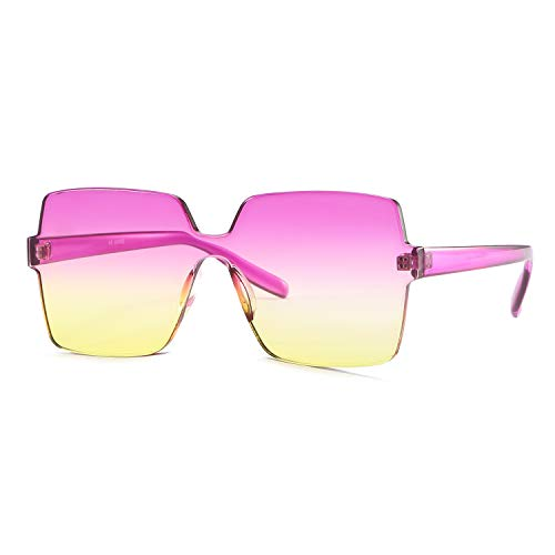 Oversized Square Candy Colors Transparent Lens Rimless Frame Unisex Sunglasses