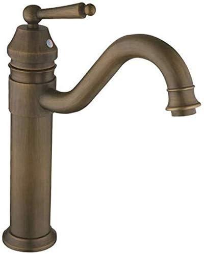 Yadianna バスルームのシンクの蛇口洗面器のミキサータップ真鍮温水と冷水アンティークシングルハンドル洗面シンクタップ浴室バーの蛇口