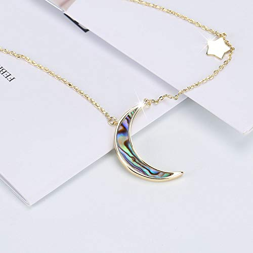 8015ca514 COZLANE Crescent Moon Necklace Half Moon and Stars Natural White Shell  Pendant Necklace Fashion Jewelry for