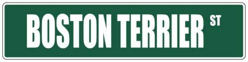 Fabri.YWL Boston Terrier Green Dog Street Signs Metal Aluminum,Road Sign Wall Decor, Metal Sign Vintage Man Cave Garage,4