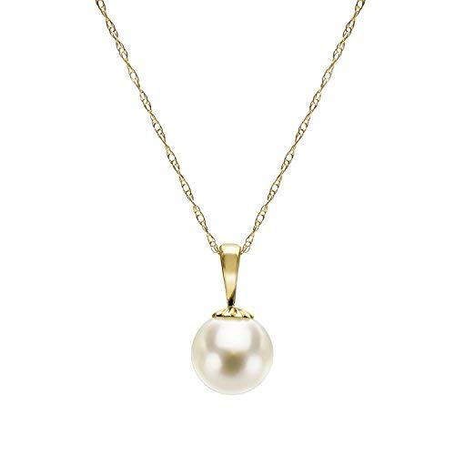 14k Yellow Gold 8-8.5mm White Japanese Akoya Cultured High Luster Pearl Pendant Necklace, 18'' by La Regis Jewelry