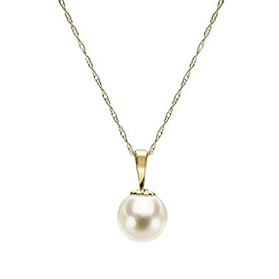 14k Yellow Gold 8-8.5mm White Japanese Akoya Cultured High Luster Pearl Pendant Necklace, 18