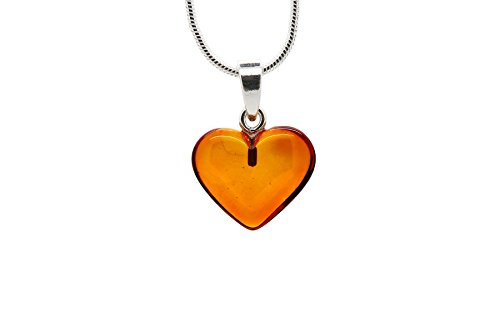 - 925 Sterling Silver Heart Pendant Necklace with Genuine Natural Baltic Amber. Chain included/Small
