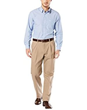 Men's Signature Stretch Khaki Pleat Relaxed Fit Pant