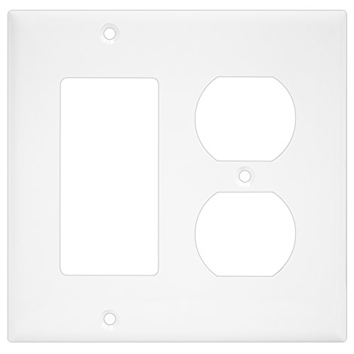 ENERLITES Combination Duplex Receptacle Outlet/Decorator Switch Wall Plate, Mid-Size 2-Gang 4.88
