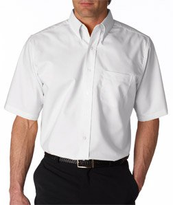 UltraClub mens Classic Wrinkle-Free Short-Sleeve Oxford(8972)-WHITE-M (Button Down Classic Shirt)