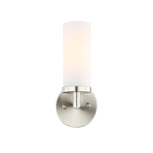 (Light Society Andover Uplight Mini Wall Sconce, Satin Nickel with Frosted Glass Shade, Contemporary Minimalist Modern Lighting Fixture (LS-W241-SN-FR))