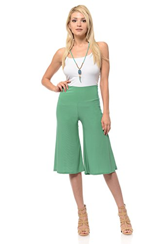 iconic luxe Women's Solid Color High Waisted Cropped Pants Large Sage