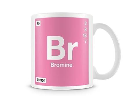 Periodic Table Of Elements 35 Br Bromine Symbol Mug Amazon