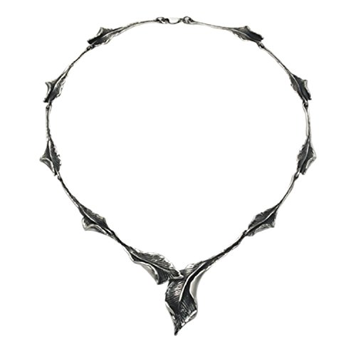 Sterling Silver Furled Bay Leaf 17'' Necklace by Wild Things