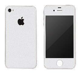 E.T. White Glitter Bling Full Body Sticker Bumper Side Protector Skin For iPhone 4/4S
