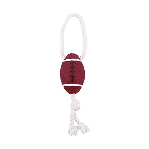 POPETPOP Dog Ball Toy Fun Squeaky Rugby Football with Natural tug Rope Premium pet Toy pet Supplies
