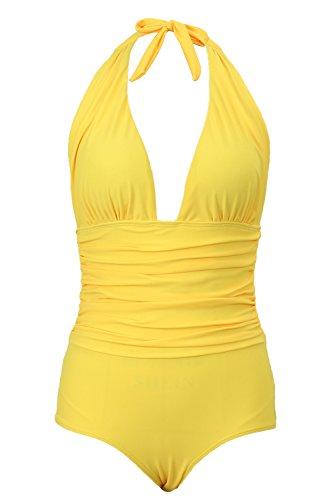 - 31AiX7Qjc5L - Honlyps One Piece Swimsuit High Waisted Bathing Suit for Women Swimwear Polyamide V-Neck Monokini