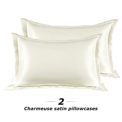 (Surmente Satin Pillowcase for Hair and Skin Home Ideas Slip Pillow Cases with Envelope Closure Set of 2 (Ivory,Queen:20x30))