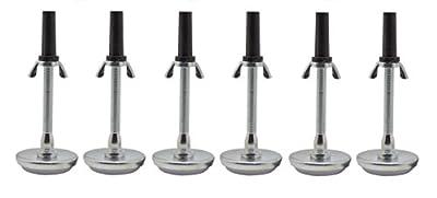 "Kings Brand Adjustable 5.8"" Threaded Bed Frame Riser Glide Legs, Set of 6 Glides"