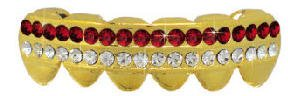 Hip Hop Lower Teeth 14K Gold Plated Mouth Grillz Set (Red Stones) Best Grillz 1411