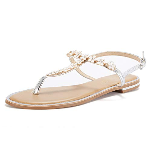 DREAM PAIRS Women's Silver T-Strap Flat Sandals Size 5 M US (Leather Jeweled Sandals)