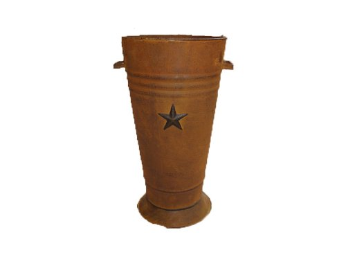 Craft Outlet Black Flower Pot with Star Attached, 15-Inch