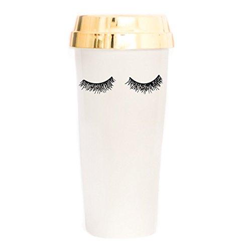 Eyelash Travel Mug Gold Lid Reusable Make-Up Lashes Decor Cute Coffee Accessories for Women Commuter Plastic Tumbler 16 Ounces Hand Drawn -