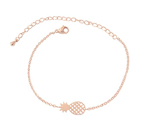 Altitude Boutique Pineapple Bracelet, Hawaii Bracelet, Fruit Bracelet Charms, Tropical Bracelet for Women (Rose Gold)