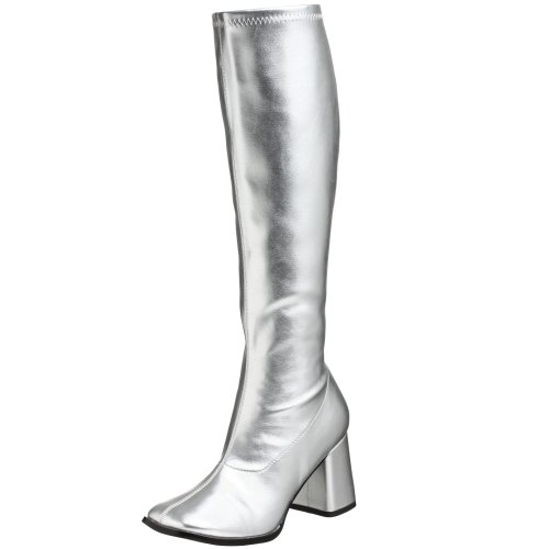 Funtasma by Pleaser Women's Gogo-300 Boot,Silver Stretch,9 (Blue Go Go Boots)