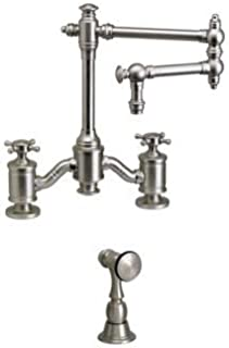 """product image for Waterstone 6150-12-1-DAC Bridge Faucet w/12"""" Articulated Spout Cross Handles w/Side Spray Distressed Antique Copper"""