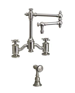 "Waterstone 6150-12-1-DAC Bridge Faucet w/12"" Articulated Spout Cross Handles w/Side Spray Distressed Antique Copper"