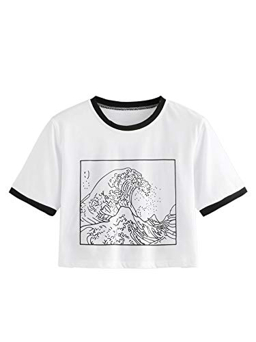 Romwe Women's Short Sleeve Top The Great Wave Off Kanagawa Graphic Print Crop Ringer Tee Shirt White M