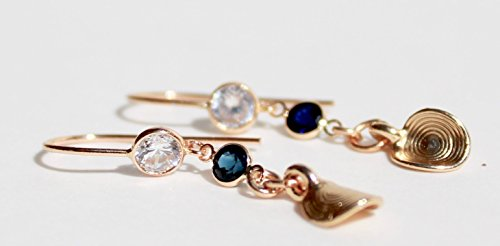 Sapphire or ruby all 14K solid gold earrings with signature ethnic gold round detail